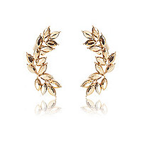 Gold tone leaf statement ear cuffs