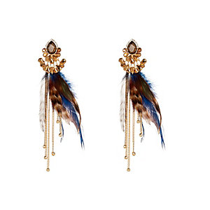 Gold tone feather front and back earrings