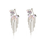 Pastel gem chandelier front and back earrings
