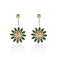 Green oversized daisy front and back earrings
