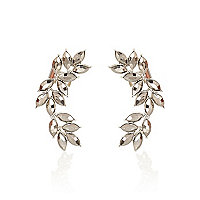 Silver tone leaf statement ear cuffs