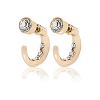 Gold tone hoop front and back earrings