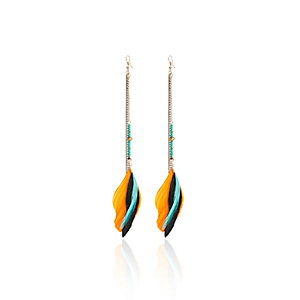 Blue beaded feather dangly earrings