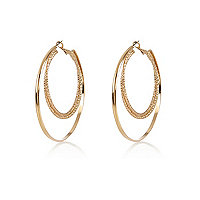 Gold tone double dow hoop earrings