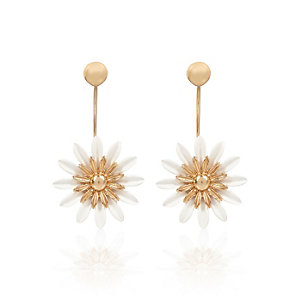 White oversized daisy front and back earrings