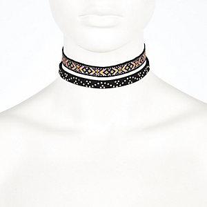 Black festival woven choker necklace pack