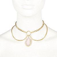 Gold tone pendant drop choker necklace