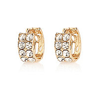 Gold tone diamante hoop earrings