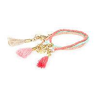 Pink tassel bracelets pack