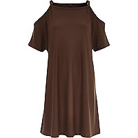 Brown strappy cold shoulder t-shirt dress