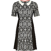 Black geo print panelled fit and flare dress