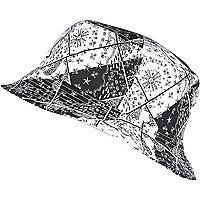 Black NY paisley print bucket hat