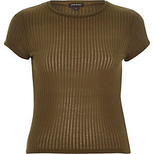 Khaki cap sleeve sheer ribbed t-shirt