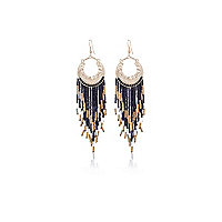 Gold tone beaded dangle earrings