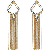 Gold tone tassel dangle earrings