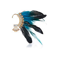 Blue statement feather ear cuff