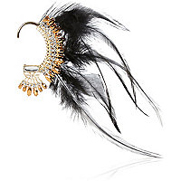 Gold tone feather and gem ear cuff