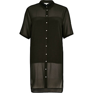 Khaki crepe longline shirt