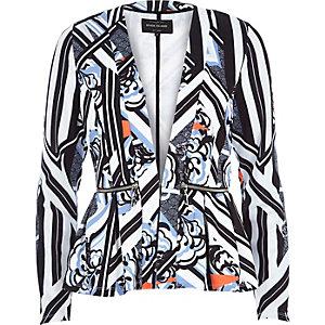 Blue print jersey peplum jacket