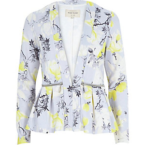 Grey print jersey peplum jacket