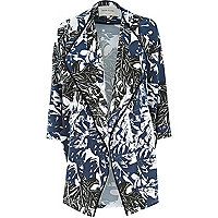 Blue tropical print draped jacket