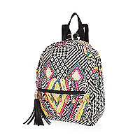 Black embroidered tassel backpack