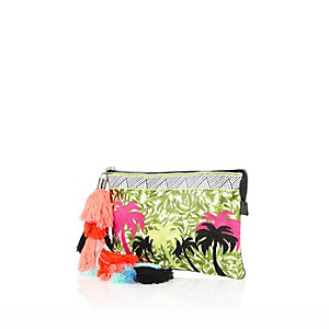 Green palm tree embroidered tassel clutch bag