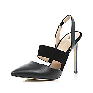Black leather sling back court shoes