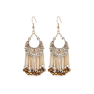 Gold tone ethnic dangle earrings