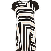 White graphic print swing dress