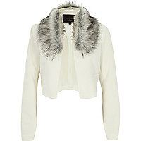 Cream crepe faux fur collar cropped jacket