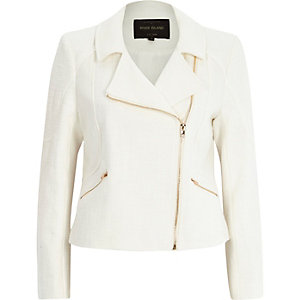 White tweed biker jacket