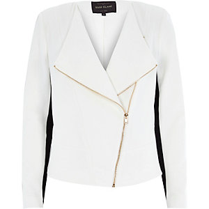 Cream fitted biker jacket