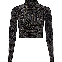 Black gold sparkle turtle neck crop top