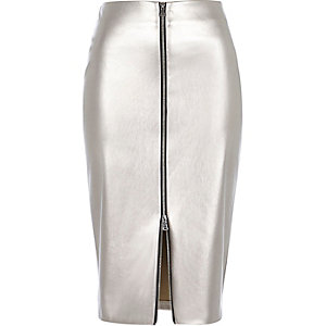 Silver metallic zip front pencil skirt