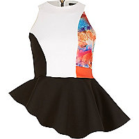 Black splice print asymmetric peplum top