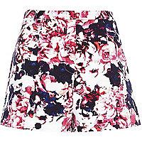 Pink floral print smart shorts
