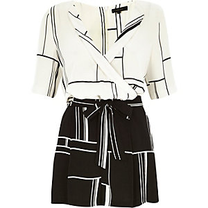 White abstract print wrap front playsuit