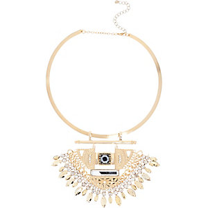 Gold tone statement torque necklace