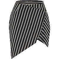 Navy stripe asymmetric zip skirt