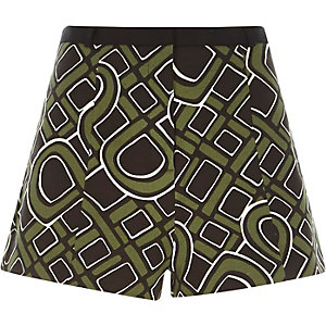 Khaki smart 60s print shorts