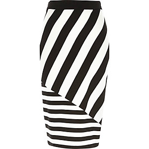 Black and white stripe zip pencil skirt