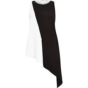 White sleeveless asymmetric buckle vest
