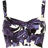 Purple floral print bralet