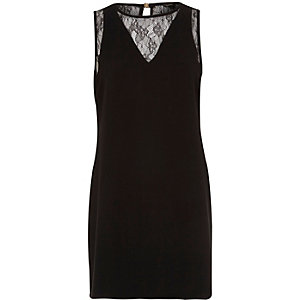 Black sleeveless lace neck shift dress