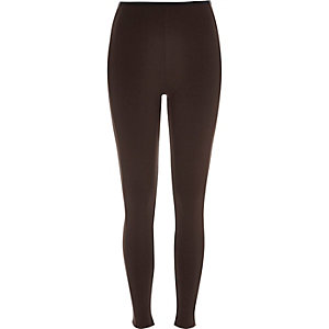 Dark brown premium jersey leggings