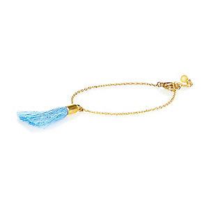 Blue tassel charm bracelet
