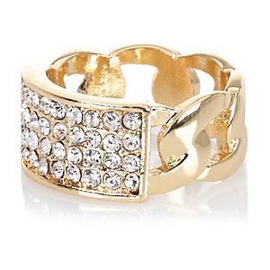 Gold tone diamante encrusted chain ring