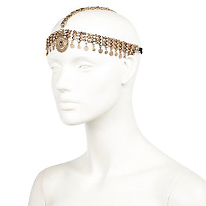 Gold tone chain hair crown