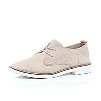 Nude leather lace up brogues